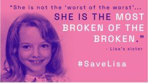 Poster uit de campagne waarmee geprobeerd werd de executie van Lisa te voorkomen.